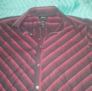 CLAIBORNE red and black design L button down shirt